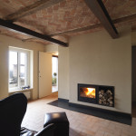 Fireplace and Brick Ceiling